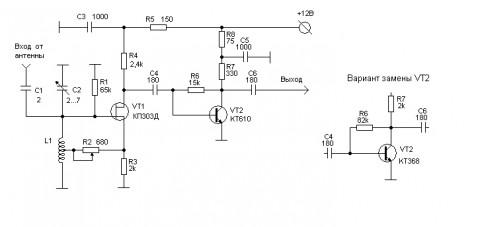 электрическая принципиальная схема преселектора
